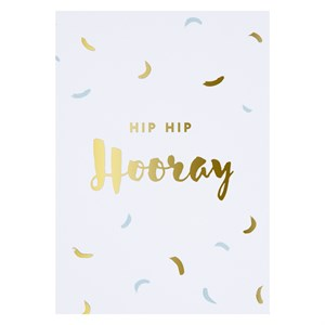 Hip hip hooray gold postcard
