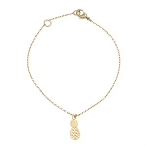 2D Pineapple bracelet 02-Gold plated