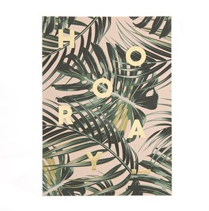 Hooray palm leaves postcard