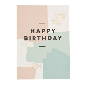 Happy birthday paint splatters  postcard