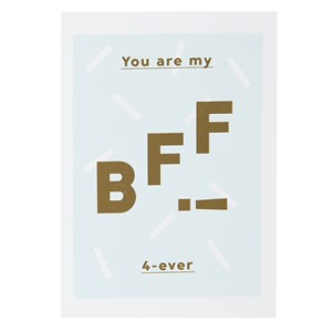 You are my BFF 4-ever rose gold postcard