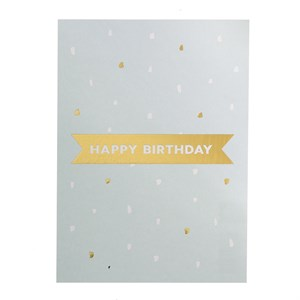 Happy birthday gold postcard