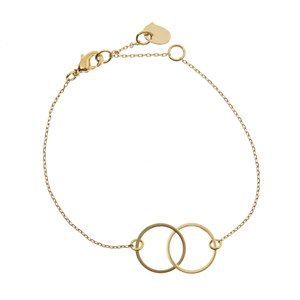 Double Circle Bracelet 02-Gold plated