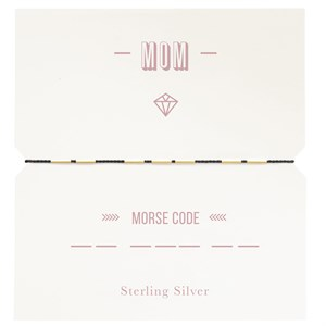 MOM morse code br, gold,925 186-Red
