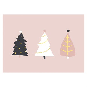 3 Christmas Trees Postcard