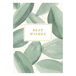 Best wishes leaves watercolor postcard