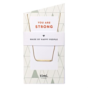 You are strong Bar Necklace 02-Gold plated