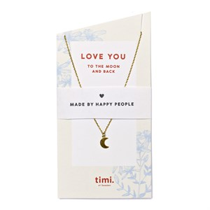 Love You Small Moon Necklce 02-Gold plated