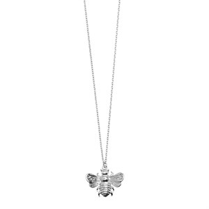 3D Bee Long Necklace 01-Silver Finishing