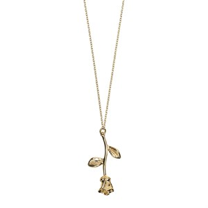 3D Rose Branch Long Necklace 02-Gold plated