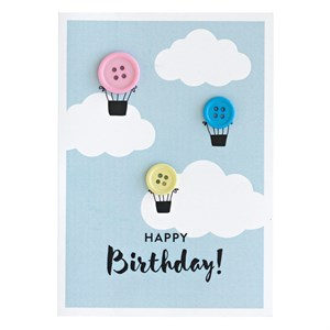 Button Hot air balloon greeting card