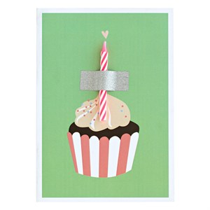 Cupcake candle greeting card