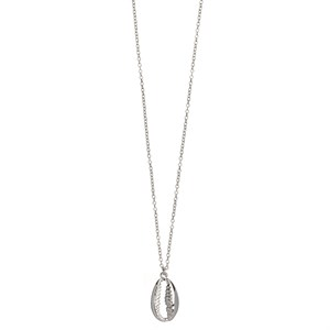 Long Necklace Caurie Shell 01-Silver Finishing