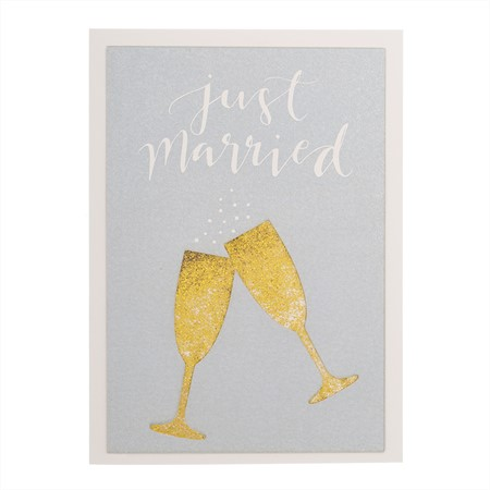 Gratulationskort ny gifta Just Married glitter