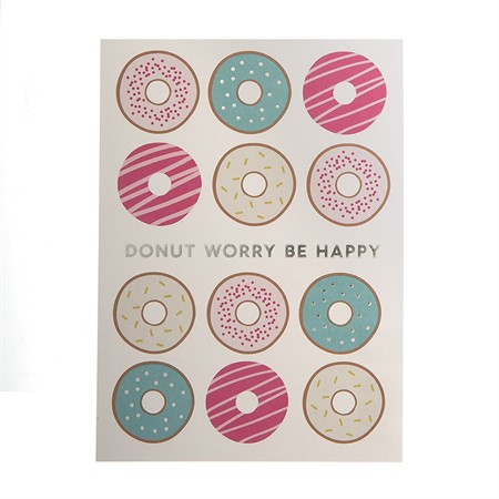 Vykort Donut Worry be Happy Silverfolie