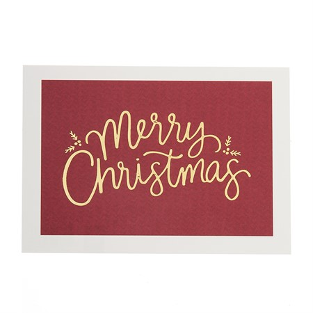 Merry Christmas gold foil postcard