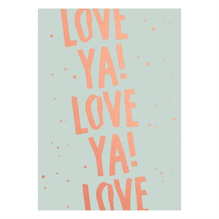 Love Ya! Rose Gold Postcard