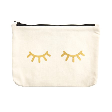 Canvass Pouch Eyes Metallic Gold