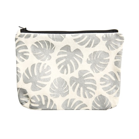 Canvass Pouch Monstera Metallic Silver