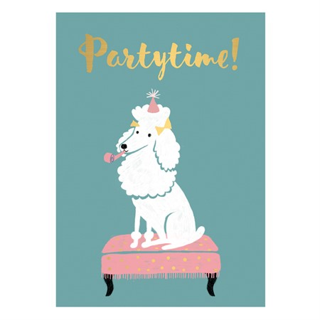 Party Time Poodle Postcard