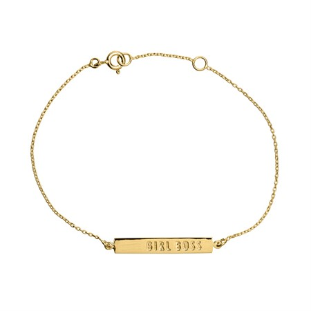 Bracelet Girl Boss Bar Sterling Silver with Gold Plating