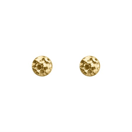 Earrings Hammered Circles Sterling Silver with Gold Plating