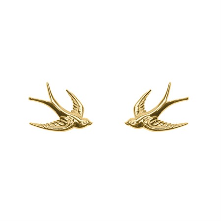 Earrings Swallow Sterling Silver with Gold Plating