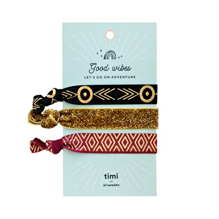 Hair Ties-Black, Gold & Mauve