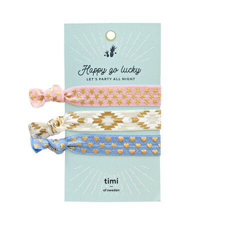 Hair Ties-Pink, White & Baby Blue