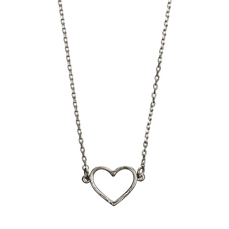 Necklace Heart Outlined Silver