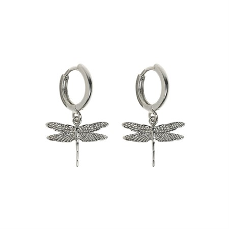 Dragonfly Small Hoop Earrings Silver