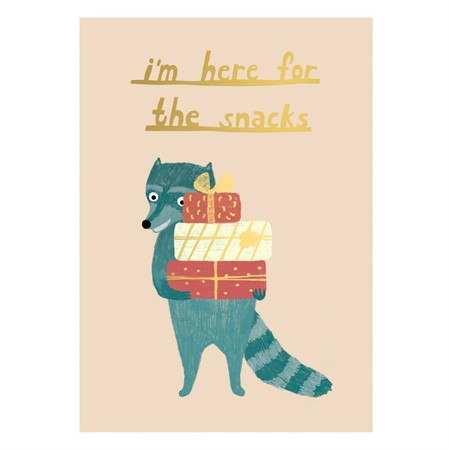 I'm here for Snacks - Raccoon Postcard
